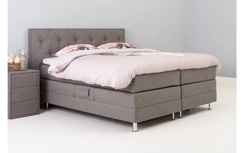 boxspring compleet infinity grijs stof kopen goossens. Black Bedroom Furniture Sets. Home Design Ideas