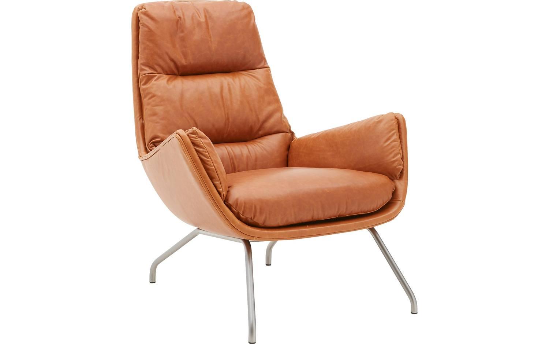 Fauteuil merci bruin leer kopen goossens meubelwinkel for Bruine leren stoel