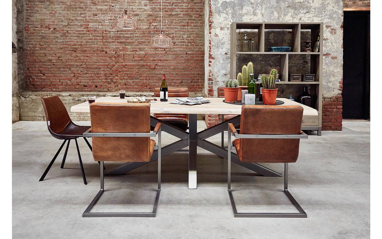 Eetkamerstoel sturdy bruin leer kopen goossens meubelwinkel for Eettafel stoelen cognac