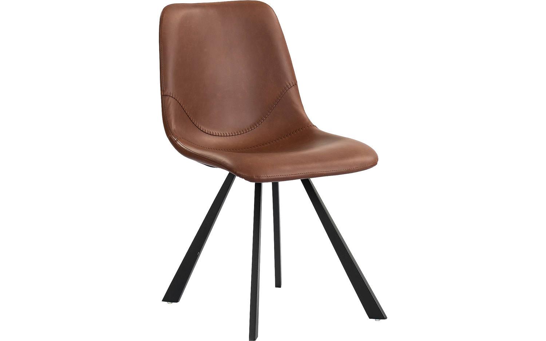 Eetkamerstoel sem bruin kunstleer kopen goossens for Eettafel stoelen cognac
