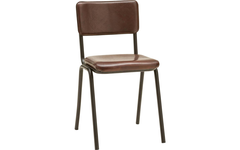 Eetkamerstoel chaplin bruin leer kopen goossens for Eetkamer stoel