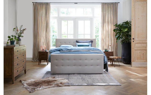 Boxspring compleet caresse bruin stof - 8171482-01