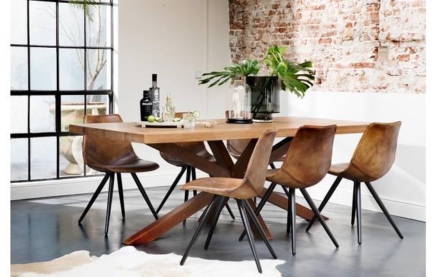 Eetkamerstoel sturdy bruin leer kopen goossens meubelwinkel for Goossens meubelen
